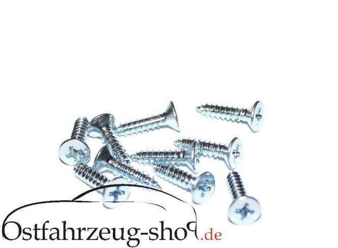 10 Stück Befestigungsschrauben für  Kotflügel und Türpappen Trabant 601 / 1.1