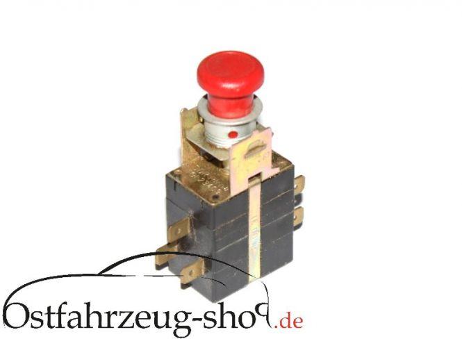 12V Warnblickschalter mit Kontrollleuchte rund für Trabant 601