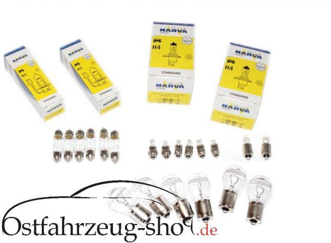 24-teilig Glühlampen-Satz 12 Volt, H4 für Trabant 601